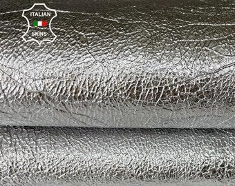 METALLIC SILVER CRISPY rough vegetable tan thick strong Italian goatskin goat leather skin skins hide hides 3 skins total 18sqf 1.4mm #A8056