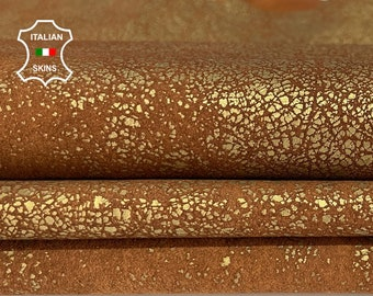 METALLIC BRONZE brass crackled distressed stonewash vintage look vegetable tan Italian Lambskin Lamb Sheep leather skins 11sqf 1.2mm #A7733
