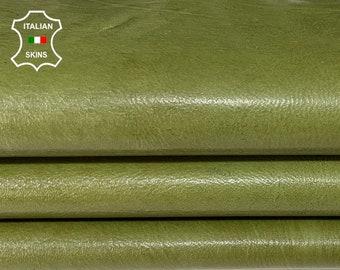 AVOCADO NATURAL GREEN shiny Italian Calfskin Calf cow leather skin skins hide hides 5sqf 1.2mm #A7718