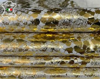 METALLIC GOLD SNAKE distressed print thin soft Italian Lambskin Lamb Sheep leather skin skins hide 6sqf 0.4mm #A7637
