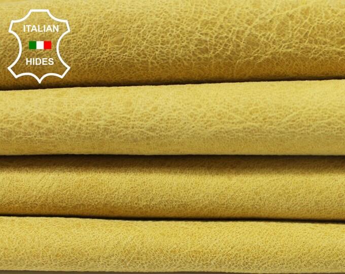 CRINKLE YELLOW VINTAGE Look Italian genuine Lambskin Lamb Sheep leather 2 skins hides total 13sqf 1.0mm #A3854