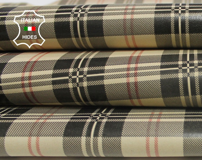 PLAID & BLACK Double Face print Italian genuine Lambskin Lamb Sheep leather material for sewing 5-7sqf  0.6mm #ARB150