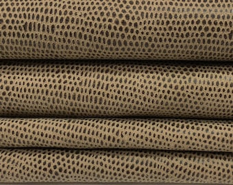 BROWN OLIVE REPTILE  Italian Lambskin Lamb Sheep leather hides skins hide skin textrured  5sqf  #7855