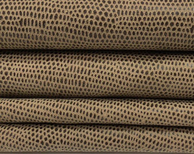 BROWN OLIVE REPTILE  Italian Lambskin Lamb Sheep leather hides skins hide skin textrured  5sqf  #7855