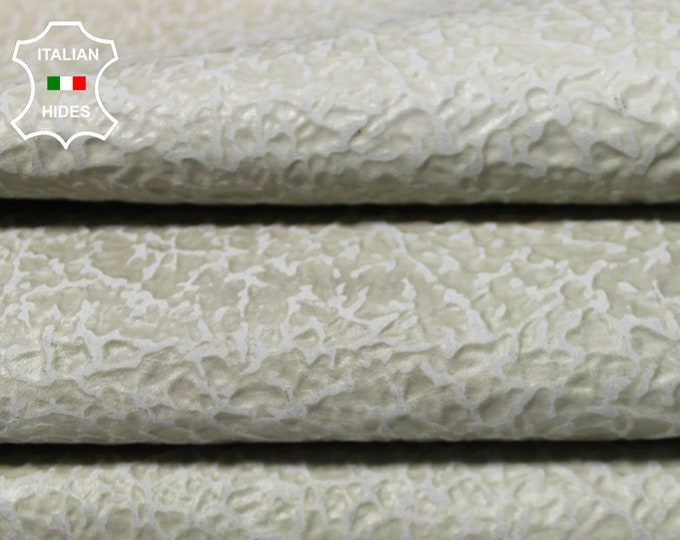 UNDYED NAKED IVORY greenish strong textured offwhite off white Italian Goatskin Goat Leather 2 skins hides total 15sqf 0.8mm #A4987
