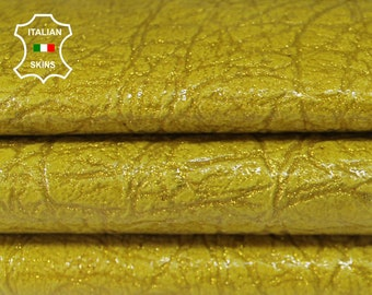 PEARLIZED PATENT YELLOW mustard textured shimmer Italian Lambskin Lamb Sheep leather material sewing crafts skin skins 6-9sqf 0.9mm #A6392