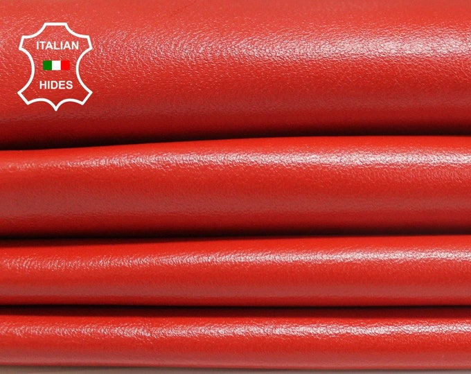 CORAL RED orangy red soft Italian Lambskin Lamb Sheep leather skin hide skins hides 8+sqf 0.7mm
