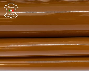 CARAMEL BROWN PATENT shiny wet look strong Italian calfskin calf cow leather hide hides skin pack 2 skins total 7sqf 1.1mm #A8225