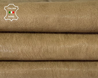 OLIVE BROWN RUSTIC antiqued rough  vegetable tan thick Italian goatskin goat leather hide hides skin skins 6sqf 1.3mm #A8184