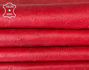 NATURAL RED OSTRICH embossed textured antiqued  soft Italian lambskin sheep leather hide skin skins hides 7sqf 0.5mm #A8121