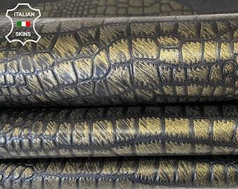 BRONZE ANTIQUED CROCODILE embossed Italian goatskin leather skin hide skins hides 10sqf 0.7mm #A7968