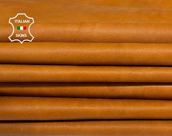 NATURAL SADDLETAN saddle Tan vegetable tanned soft Italian Lambskin Lamb Sheep leather 2 skins total 16sqf 0.7mm #A7530