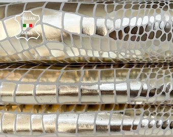 METALLIC PLATINUM LIGHT Gold mirror crocodile textured strong Italian Goatskin goat leather pack 2 skins total 7+sqf 0.7mm #A8521