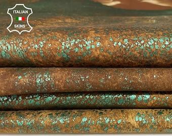 METALLIC GREEN crackle crackled distressed stonewash vintage look Italian Lambskin Lamb Sheep leather 2 skins total 10sqf 0.8mm #A7532