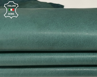 TEAL GREEN washed rustic antiqued vegetable tan Italian Lambskin Lamb Sheep leather skins hides 9sqf 1.0mm #A7757