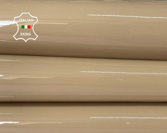 BEIGE PATENT SHINY wet look Italian calfskin calf cow leather hide hides skin pack 3 skins total 9sqf 1.1mm #A8236