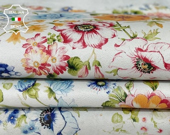 COLORFUL FLOWERS on off white Italian Lambskin Lamb Sheep leather 2 skins total 12sqf 0.8mm #A7764