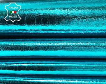 METALLIC TURQUOISE BLUE Italian lambskin lamb sheep leather skin skins hide hides 0.7mm 4-7sqf