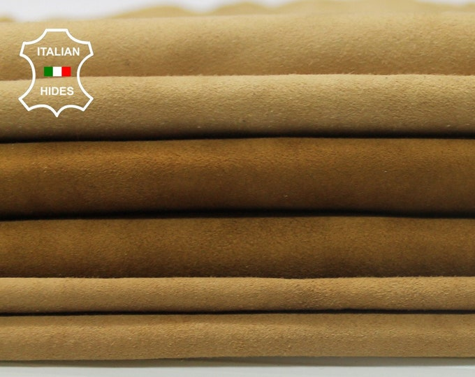 3 SHADES CAMEL SUEDE soft Italian Lambskin Lamb sheep leather  3 skins hides total 12sqf 0.4-0.5mm #A4212