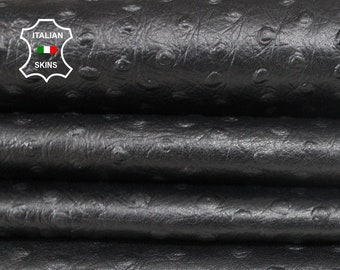 BLACK OSTRICH EMBOSSED textured strong Italian Goatskin Goat leather for crafts 3 skins hides total 8sqf 1.0mm