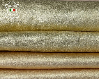 METALLIC GOLD ROUGH Italian lambskin lamb soft leather skin skins hide hides 2 skins total 8sqf 1.0mm #A8060