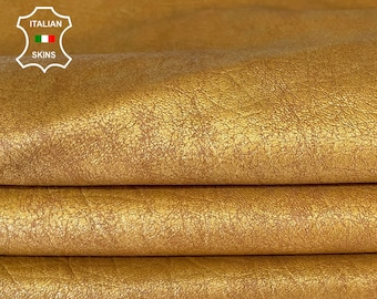 OLD GOLD PEARLIZED vintage look rough vegetable tan soft Italian goatskin goat leather skin skins hide hides 5sqf 1.2mm #A8091