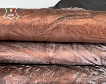 COPPER WASHED wrinkle rustic antiqued vegetable tan thick Italian goatskin goat leather skin hide 9sqf 1.4mm #A7983