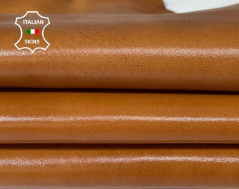 SADDLE TAN SHINY antiqued distressed vintage look Italian Calfskin Calf leather 5 skins total 28sqf 1.3mm #A7595