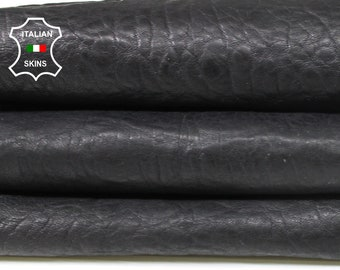 BLACK bubbly grainy textured washed thick vegetable tan Italian Lambskin Lamb Sheep Leather skin hide 5sqf 1.3mm #A7240