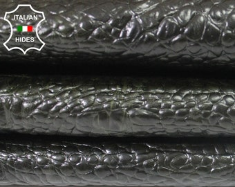 OLIVE GREEN CROCODILE Alligator embossed Calf Calfskin Italian genuine leather skin skins hide hides 5sqf #GA1100