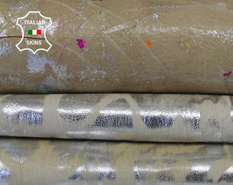 DOUBLE FACE BEIGE textrured distressed strong Italian Goatskin Goat leather skin hide skins hides 7sqf 0.8mm #A6604