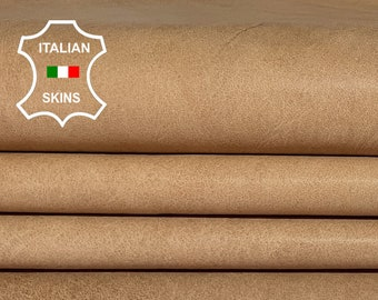 NATURAL TAN NAKED vegetable tanned Italian Lambskin Lamb Sheep leather material for crafts 2 skins total 12sqf 0.9mm #A6974