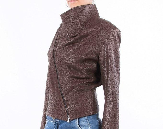 Italian handmade Women genuine soft lambskin leather trendy cropped biker asymmetrical jacket slim fit color vintage crocodile brown