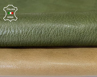 KHAKI& GREEN FOREST 2 shades vegetable tan thick Italian goatskin goat leather skin skins hide hides 2 skins 9sqf 1.5mm #A8102