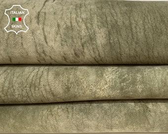 OLIVE GREEN KHAKI nubuck distressed vintage look vegetable tan soft Italian lambskin lamb sheep leather skin skins hide 7+sqf 0.8mm #A8425