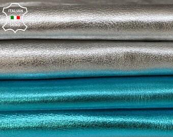 METALLIC SILVER & TURQUOISE blue soft Italian Goatskin goat leather pack 2 skins total 11sqf 0.9mm #A8525