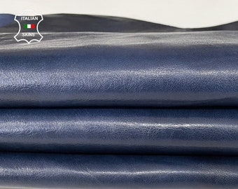 BLUE ANTIQUED rustic look vegetable tan Italian lambskin lamb sheep wholesale leather skins 0.5mm to 1.2 mm