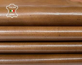 OAK BROWN SHINY antiqued distressed vintage look Italian Calfskin Calf leather 4 skins total 22sqf 1.1mm #A7598