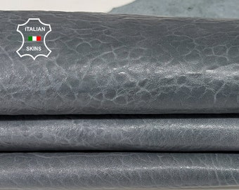 GREY BUBBLY grainy vintage look thick Italian Lambskin Lamb sheep leather skin skins hide hides 6sqf 1.1mm #A7676