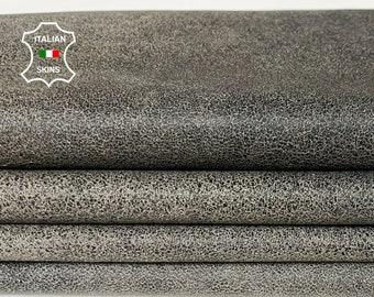 BLACK CRACKLED distressed  on Beige stonewash vintage look Italian lambskin lamb sheep wholesale leather skins 0.5mm to 1.2 mm