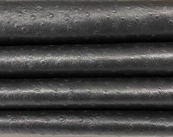 BLACK OSTRICH textured soft Italian Lambskin Lamb Sheep leather skin skins hide hides 8sqf 0.6mm #A7602