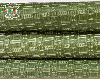 GREEN TEXTURED EMBOSSED vintage look vegetable tan Italian Lambskin Lamb Sheep leather skin hide skins 10sqf 0.8mm #A7808