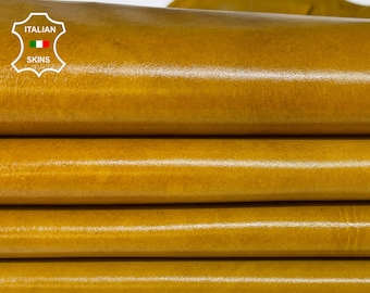 MUSTARD TAN SHINY antiqued distressed vintage look Italian Calfskin Calf leather 6 skins total 25sqf 1.0mm #A7593