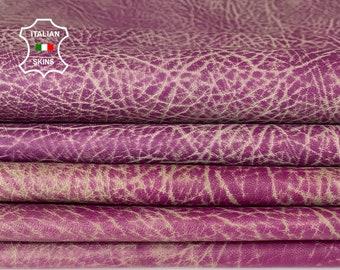 RHINO GRAINY PURPLE violet distressed stonewash vintage look vegetable tan lambskin lamb sheep leather 2 skins total 15sqf 0.7mm #A8282