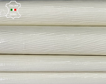 PATENT IVORY EPI embossed textured shiny wet look Italian calfskin calf cow leather hide hides skin pack 2 skins total 10sqf 0.9mm #A8271