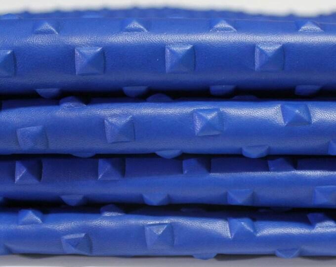 BLUE PYRAMID STUDS studded embossed Italian genuine lambskin lamb sheep leather 10 skins hides total 60sqf