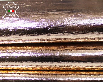 METALLIC ROSE GOLD Crinkle Crinkled Italian Lambskin Lamb Sheep Leather skin hide skins hides 6-8sqf 0.6mm #A5006