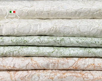 PACK 3 COLORS PATENT white crinkled very vintage look soft Italian Lambskin Lamb Sheep leather pack 3 skins total 15sqf 0.8mm #A8504