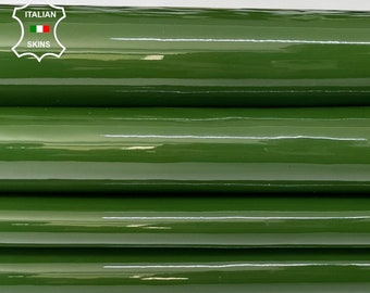 BOTTLE GREEN PATENT shiny wet look Italian calfskin calf cow leather hide hides skin pack 2 skins total 5sqf 0.9mm #A8230