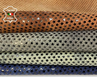 STARS BLUE BROWN green pack shiny vintage look soft Italian Lambskin Lamb Sheep leather pack 4 skins total 18sqf 0.8-1.0mm #A8511